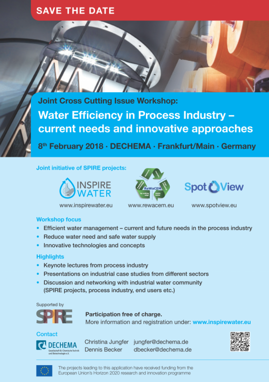 Joint Cross-cutting issue workshop: Water Efficiency in Process Industry - current needs and innovative approaches